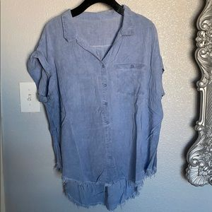 Distressed Short Sleeve Button Up